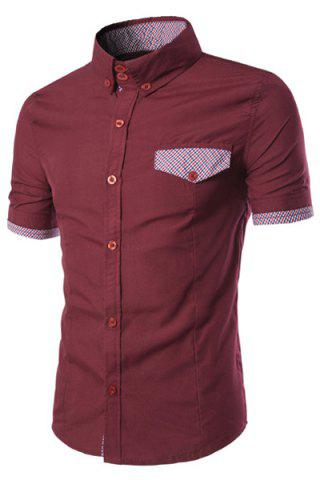 Outfits Fake Flap Pocket Plaid Spliced Slimming Shirt Collar Short Sleeves Button-Down Shirt For Men WINE RED L
