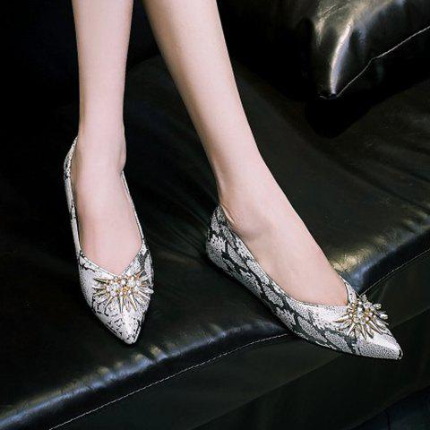 Shop Elegant Rhinestone and Pointed Toe Design Flat Shoes For Women - 37 GREY AND WHITE Mobile