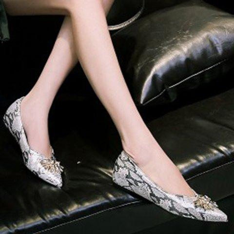 Unique Elegant Rhinestone and Pointed Toe Design Flat Shoes For Women - 37 GREY AND WHITE Mobile