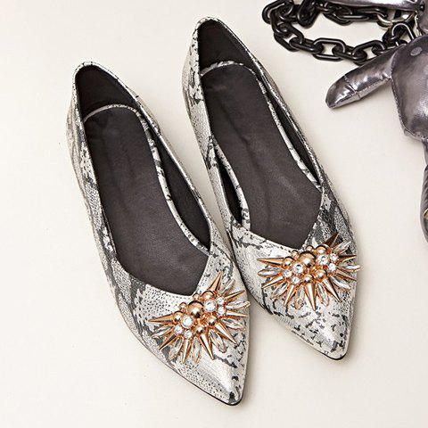 Fashion Elegant Rhinestone and Pointed Toe Design Flat Shoes For Women - 37 GREY AND WHITE Mobile
