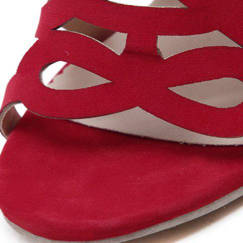 Latest High Heel Caged Sandals with Ankle Strap - 39 RED Mobile