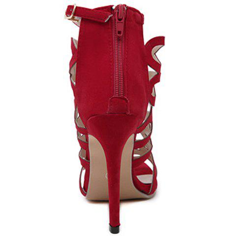 Chic High Heel Caged Sandals with Ankle Strap - 39 RED Mobile