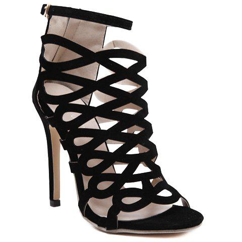 Outfits High Heel Caged Sandals with Ankle Strap