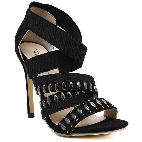 Online Stylish Elastic Band and Black Design Sandals For Women