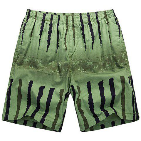 Buy Loose-Fitting Lace-Up Ombre Letter Print Crack Design Straight Leg Shorts Men