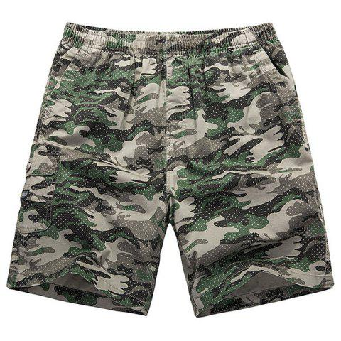 Fashion Loose-Fitting Lace-Up Camouflage Pocket Design Straight Leg Shorts For Men