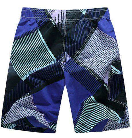 New Straight Leg Drawstring Geometric Print Flap Patch Pokect  Men's Board Shorts - L PURPLE Mobile