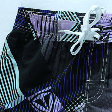 Store Straight Leg Drawstring Geometric Print Flap Patch Pokect  Men's Board Shorts - L PURPLE Mobile