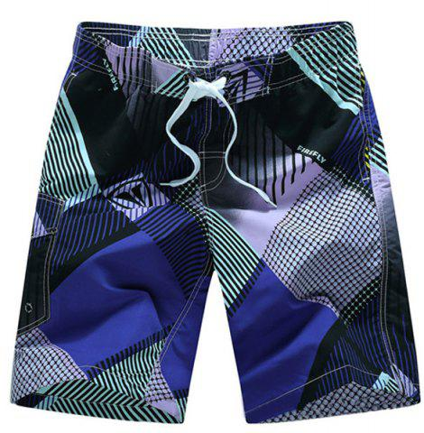 Outfit Straight Leg Drawstring Geometric Print Flap Patch Pokect  Men's Board Shorts