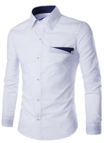 Sale Special One Pocket Color Splicing Shirt Collar Long Sleeves Slimming Shirt For Men