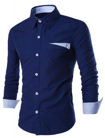 Chic Special One Pocket Color Splicing Shirt Collar Long Sleeves Slimming Shirt For Men DEEP BLUE M