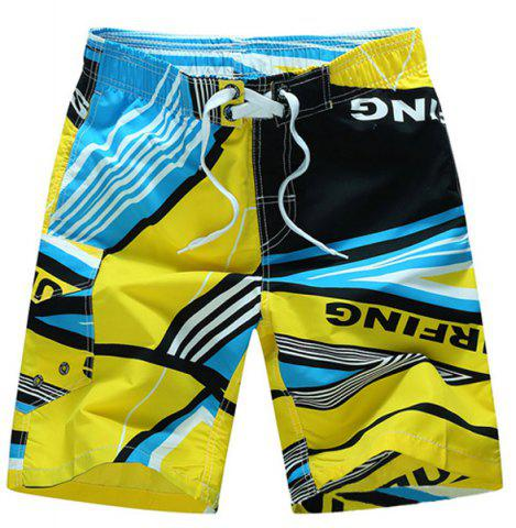 Buy Straight Leg Elastic Waist Color Block Printed Men's Board Shorts