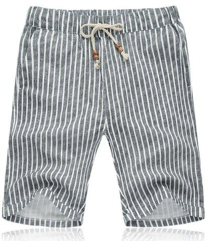 Outfits Lace Up Loose Vertical Stripe Fifth Pants Beach Shorts For Men