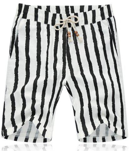 Chic Lace Up Loose Stripe Fifth Pants Beach Shorts For Men