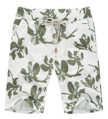 Shop Lace Up Loose Flower Printed Fifth Pants Beach Shorts For Men