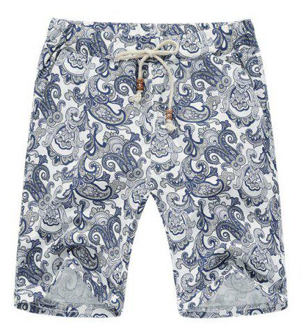 Trendy Lace Up Loose Printed Fifth Pants Beach Shorts For Men