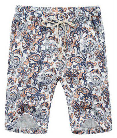 Discount Loose Lace Up Printed Fifth Pants Beach Shorts For Men