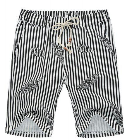 Online Stripe Lace Up Feather Printed Fifth Pants Beach Loose Shorts For Men