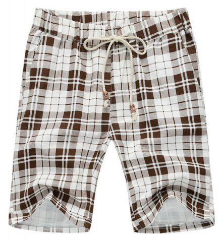 Shop Loose Plaid Lace Up Fifth Pants Beach Shorts For Men - 4XL WHITE AND BROWN Mobile