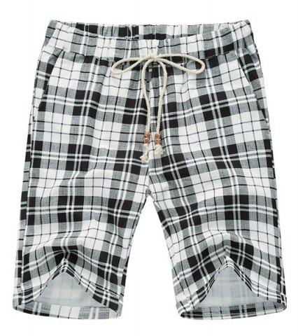 Best Loose Plaid Lace Up Fifth Pants Beach Shorts For Men - L WHITE AND BLACK Mobile