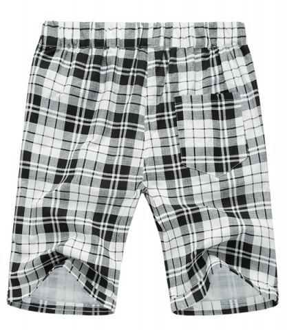 Fancy Loose Plaid Lace Up Fifth Pants Beach Shorts For Men - 2XL WHITE AND BLACK Mobile