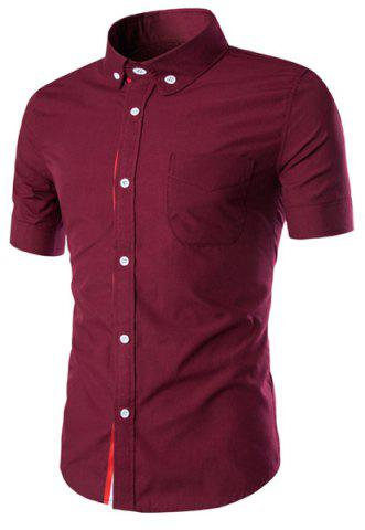 Latest Simple Braid Spliced One Pocket Slimming Shirt Collar Short Sleeves Button-Down Shirt For Men