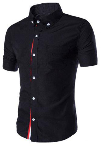 Simple Braid Spliced One Pocket Slimming Shirt Chemise à col manches courtes Button-Down For Men