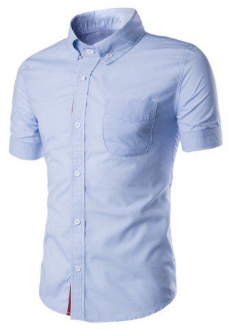Simple Braid Spliced One Pocket Slimming Shirt Collar Short Sleeves Button-Down Shirt For Men - Light Blue - 2xl
