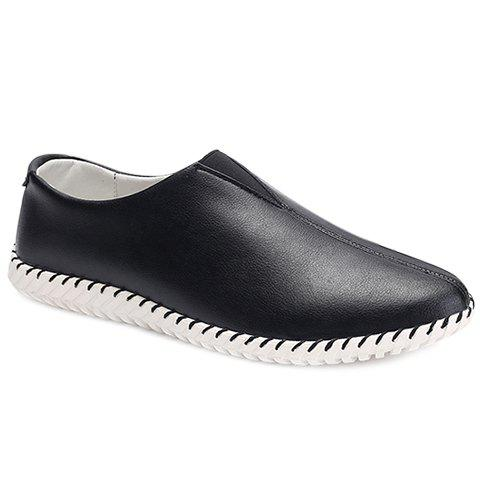 Store Faux Leather Slip On Sneakers BLACK 43