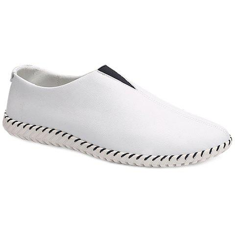 Faux Leather Slip On Sneakers - WHITE 39