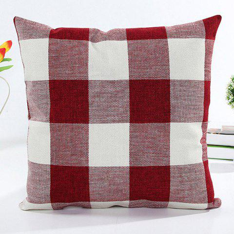 Chic Colorful Plaid Pattern Square Shape Flax Pillow Case(Without Pillow Inner)