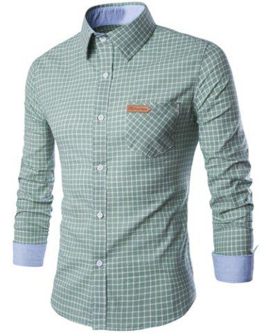 Outfits PU Leather Spliced One Pocket Hit Color Shirt Collar Long Sleeves Checked Shirt For Men GREEN M