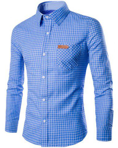 PU Leather Spliced One Pocket Hit Color Shirt Collar Long Sleeves Checked Shirt For Men - Blue - 2xl