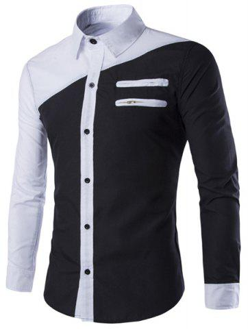 Cheap Color Block Slimming Shirt Collar Long Sleeves Cool Shirt For Men