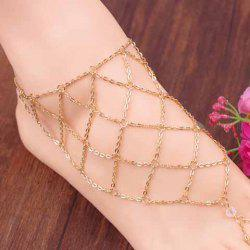 1 Piece Fishing Net Pattern Fancy Anklets - GOLDEN