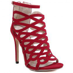 High Heel Caged Sandals with Ankle Strap - RED