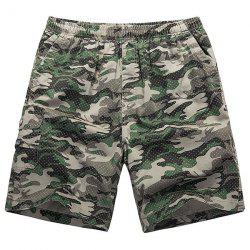 Loose-Fitting Lace-Up Camouflage Pocket Design Straight Leg Shorts For Men -