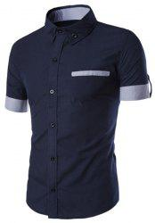 Classic Color Block Fake Pocket Slimming Shirt Collar Short Sleeves Button-Down Shirt For Men - PURPLISH BLUE