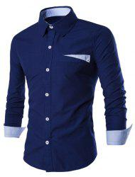 Special One Pocket Color Splicing Shirt Collar Long Sleeves Slimming Shirt For Men - DEEP BLUE