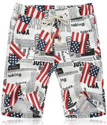 Lace Up Fifth Pants Beach American Flag Shorts - COLORMIX