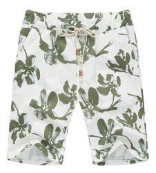 Lace Up Loose Flower Printed Fifth Pants Beach Shorts For Men -