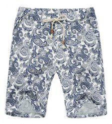 Lace Up Loose Printed Fifth Pants Beach Shorts For Men -