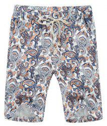 Loose Lace Up Printed Fifth Pants Beach Shorts For Men -