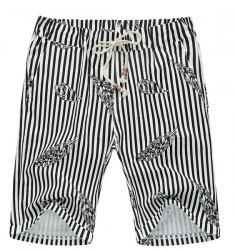 Stripe Lace Up Feather Printed Fifth Pants Beach Loose Shorts For Men - BLACK