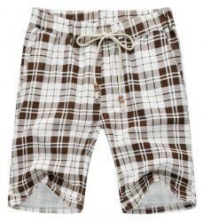 Loose Plaid Lace Up Fifth Pants Beach Shorts For Men -
