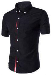 Simple Braid Spliced One Pocket Slimming Shirt Collar Short Sleeves Button-Down Shirt For Men - BLACK