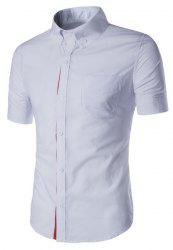 Simple Braid Spliced One Pocket Slimming Shirt Collar Short Sleeves Button-Down Shirt For Men -