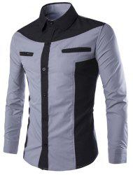 Double Zipper Color Splicing Slimming Shirt Collar Long Sleeves Fashion Shirt For Men
