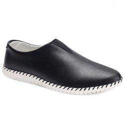 Faux Leather Slip On Sneakers - BLACK 43