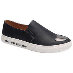 Fashion PU Leather and Metal Design Casual Shoes For Men - BLACK